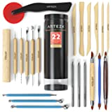 Arteza Pottery Tools & Clay Sculpting Tools, Set of 22 Pieces in PET Storage Tube, for Clay, Pottery, Ceramics Artwork & Holiday Crafts (Tamaño: Set of 22)