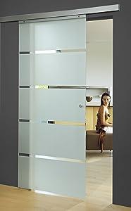 Schiebetür Zimmertür Glastür ESG Keramiklack Blockstreifen groß 880x2035mm mit Griffknopf Balu  BaumarktÜberprüfung und weitere Informationen