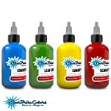 StarBrite Colors Sterilized Tattoo Ink - 4 Primary Color Set - Red Green Blue Yellow 1/2 oz (Color: Multi-Color, Tamaño: 0.5 ounce bottles)