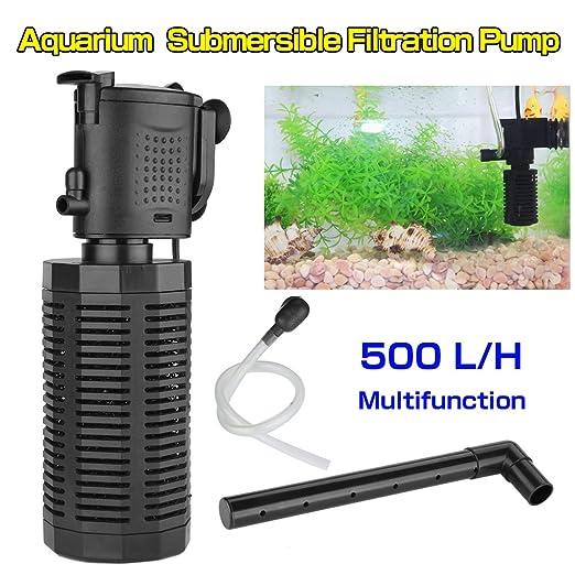 Floureon 3 en 1 filtro 500l h interior de acuario con for Filtro para estanque de tortugas