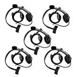 Retevis 2 Way Radio Headset Earpiece Noise Cancelling Overhead Headset Boom Mic Compatible Kenwood Baofeng UV-5R BF-888s H-777 RT22 RT21 RT27 H-777S RT-5R Walkie Talkies (5 Pack) (Color: Black)