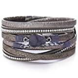 17mile Multi-Layer Leather Bracelet - Braided Wrap Cuff Bangle - with Alloy Magnetic Clasp Handmade Jewelry for Women,Girl Gift (Color: 03-(Natural Stone)-Grey)