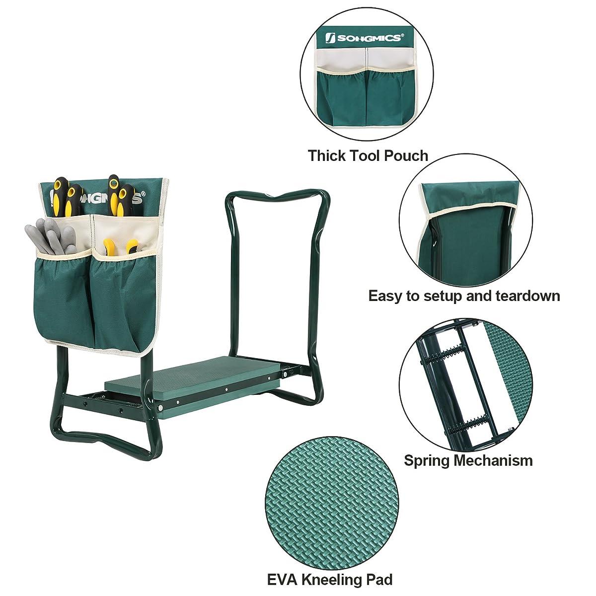 SONGMICS Garden Kneeler Seat with Bonus Upgraded Tool Pouch and EVA Kneeling Pad Foldable Stool UGGK49L