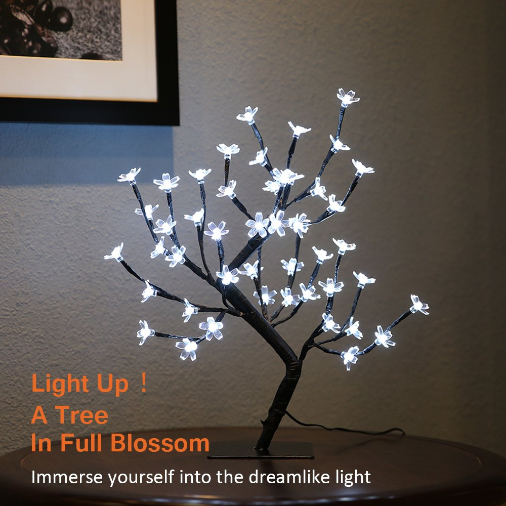 Zanflare 0.45M/17.72Inch 48LEDs Cherry Blossom Desk Top Bonsai Tree Light, Black Branches, Perfect for Home Festival Party Wedding Christmas Indoor Outdoor Decoration (Cool White)
