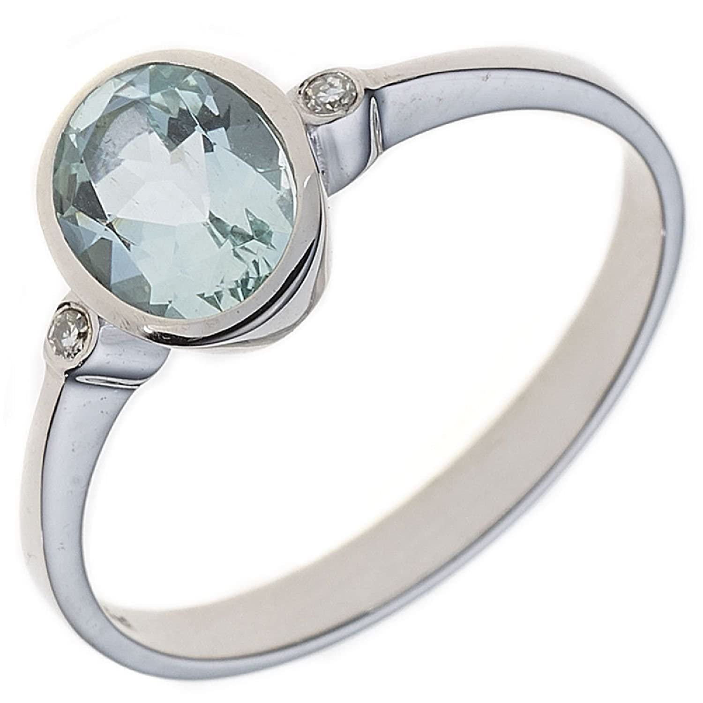 Damen Ring 585 Weißgold 1 Aquamarin 2 Diamanten 0,02ct. online kaufen