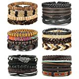 LOLIAS 4-24 Pcs Woven Leather Bracelet for Men Women Cool Leather Wrist Cuff Bracelets Adjustable (Color: Style B)