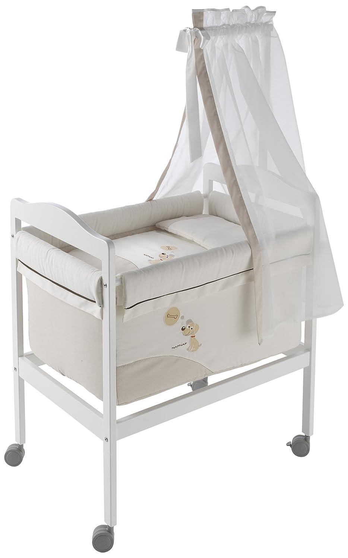 Naf-Naf 30605 Wiege Square und Moskitonetz Design Puppy , 50% Baumwolle 50% Polyester, beige