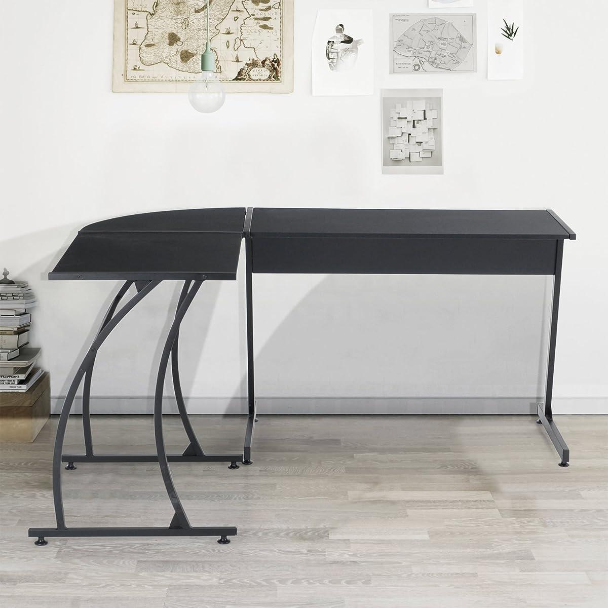 GreenForest L-Shape Corner Computer Desk PC Laptop Table Workstation Home Office 3-Piece,Black