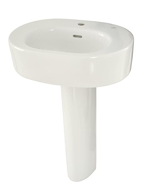 TOTO LPT790#01 Nexus Lavatory and Pedestal with Single Hole, Cotton White