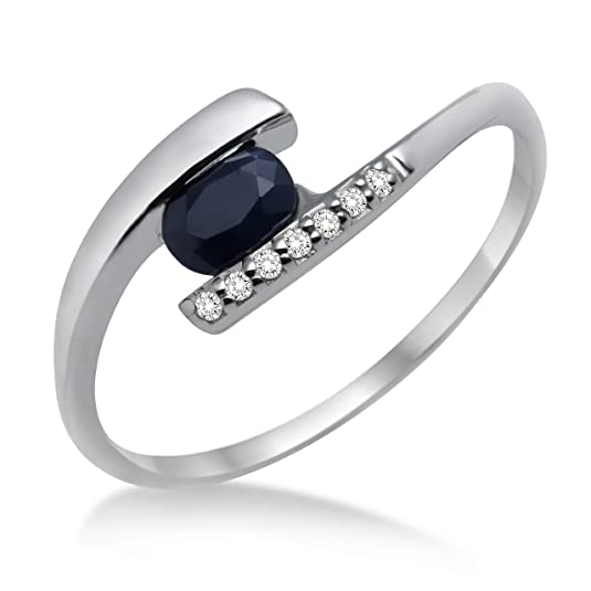 Miore Women's Ring 375 White Gold with Diamonds and Blue Sapphire MH9003R