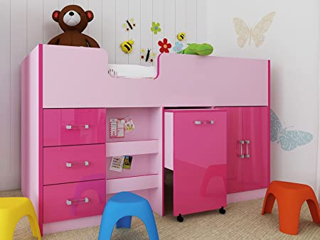 Ottawa Caspian High Gloss Midsleeper Bed with Drawers, Bookcase, Desk & Cupboard - Blue or Pink - Two Tone (Pink)