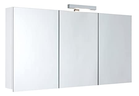 Mebasa myb904512t-Cabinet with Mirrors for Bathroom, 3d effect, 3doors, 6Glass Trays, with Soft Close and Light, Pre-Assembled