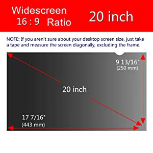 Magicmoon Privacy Filter Screen Protector, Anti-Spy&Glare Film for 20 inch Widescreen Computer Monitor (20'', 16:9 Aspect Ratio) (Tamaño: 20 Widescreen (16:9))