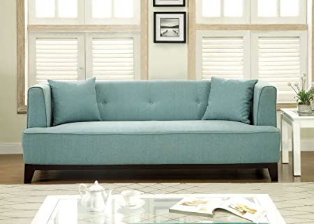 Modern Teal Blue Fabric Sofa