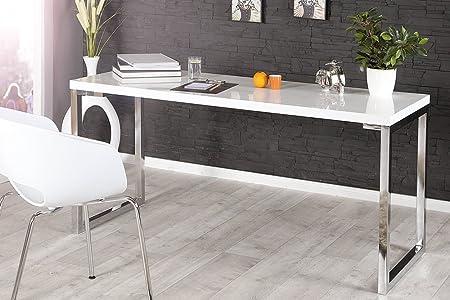 Design Schreibtisch WHITE DESK 140cm hochglanz weiss Tisch Chromgestell