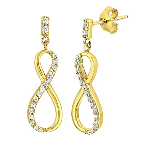Citerna 9 ct Drop Earrings with CZ Stones in Figure 8 Design