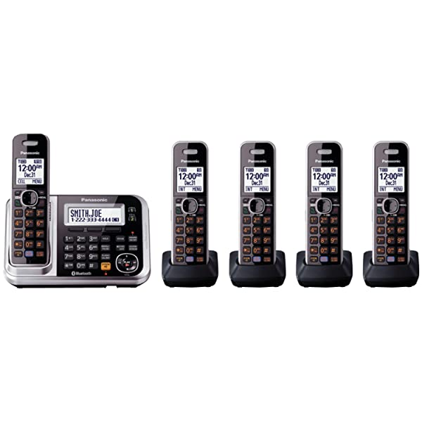 Panasonic Bluetooth Cordless Phone KX-TG7875S Link2Cell with Enhanced Noise Reduction & Digital Answering Machine - 5 Handsets (Black/Silver) (Color: Silver, Tamaño: 5 Handsets)