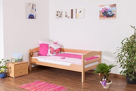 """Lit pour ados/ enfants """"Easy Sleep"""" K1/n/s, en bois hêtre massif naturel avec accessoirs (disponibles moyennant un supplémant): - Dimensions: 90 x 200 cm"""