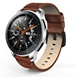 SWEES Leather Bands Compatible Gear S3 Frontier & Classic and Galaxy Watch 46mm, 22mm Genuine Leather Strap Replacement Wristband Compatible Samsung Gear S3 and Galaxy Watch 46mm, Dark Brown (Color: Dark Brown)