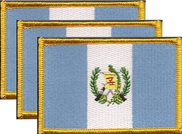 Pack of 3 Country Flag Patches 3.50 x 2.25, Three International Embroidered Iron On or Sew On Flag Patch Emblems (Guatemala) (Tamaño: Guatemala)