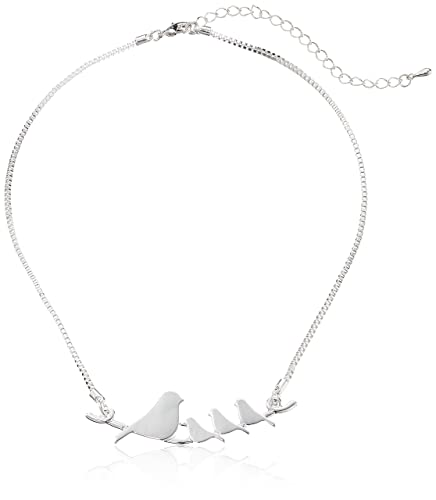 Mother bird and baby birds on a branch necklace.