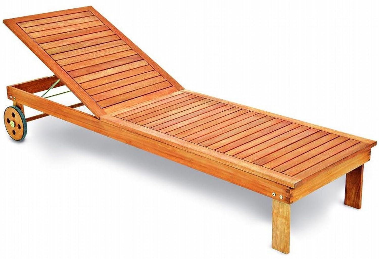 Gartenliege aus Eukalyptus Holz Rückenteil mehrfach verstellbar mit Rädern jetzt bestellen
