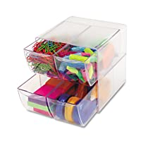 Clear Plastic,Desk Cube with Four Drawers,6 x 7-1/8 x 6 Inches