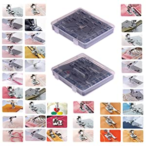 YEQIN Professional Domestic 52pcs Sewing Foot Sewing Machine Feet Presser Feet Set with Plastic Storage Box for Brother, Singer, Janome, Babylock,Toyota,New Home, and Kenmore Low Shank Sewing Machine (Tamaño: 52 PCS High quality)