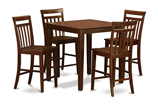 East West Furniture VNEW5-MAH-W 5-Piece Counter Height Table Set, Mahogany Finish