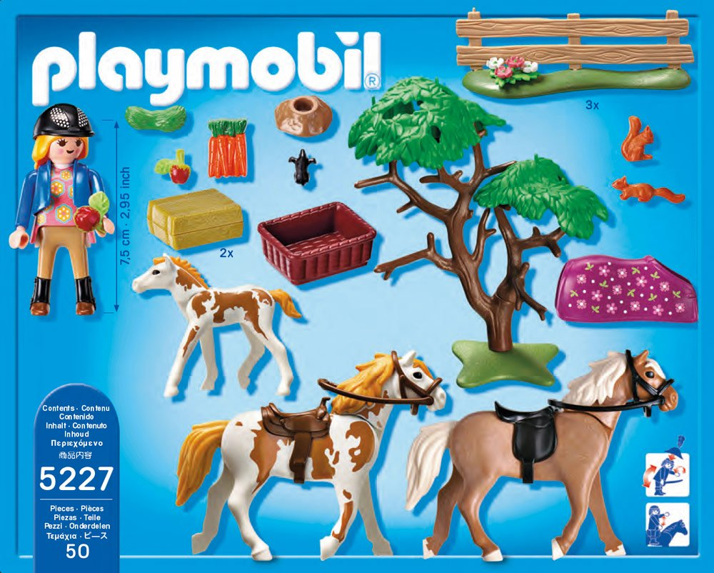 Playmobil 5227 paddock with horses and foal children 39 s for Playmobil pferde set