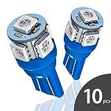 Marsauto 10pcs Blue T10 194 168 Bright Instrument Panel Dashboard LED Light Bulbs No-polarity 2825 5SMD Dome Map License Plate Lights Lamp 12V (Pack of 10) (Color: Blue(10 pcs), Tamaño: Blue(10 pcs))