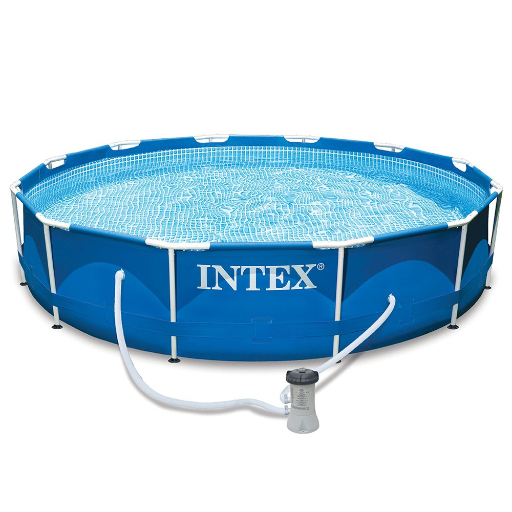 Intex metal frame pool set water park family swimming pool for Intex gartenpool