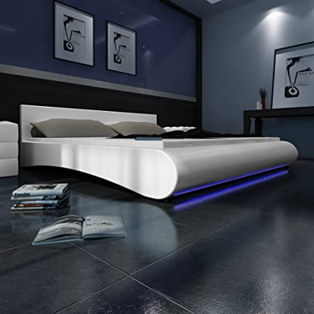 Cama, 180 x 200 cm, color blanco con luces led con somier