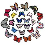 23 Pcs Iron On Cute Embroidery Butterfly Patches Embroidered Motif Applique Patches Embroidery Decoration DIY Sew on Patch for Jeans, Clothing,Handbag,Cap (23Pcs Butterfly) (Color: 23Pcs Butterfly)