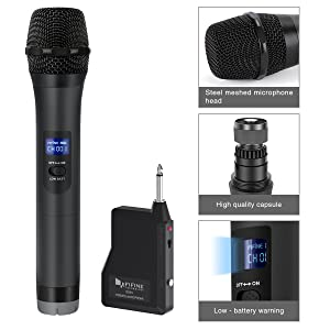 Wireless Microphone,FIFINE Handheld Dynamic Microphone Wireless mic System for Karaoke Nights and House Parties to Have Fun Over the Mixer,PA System,Speakers.(K025)
