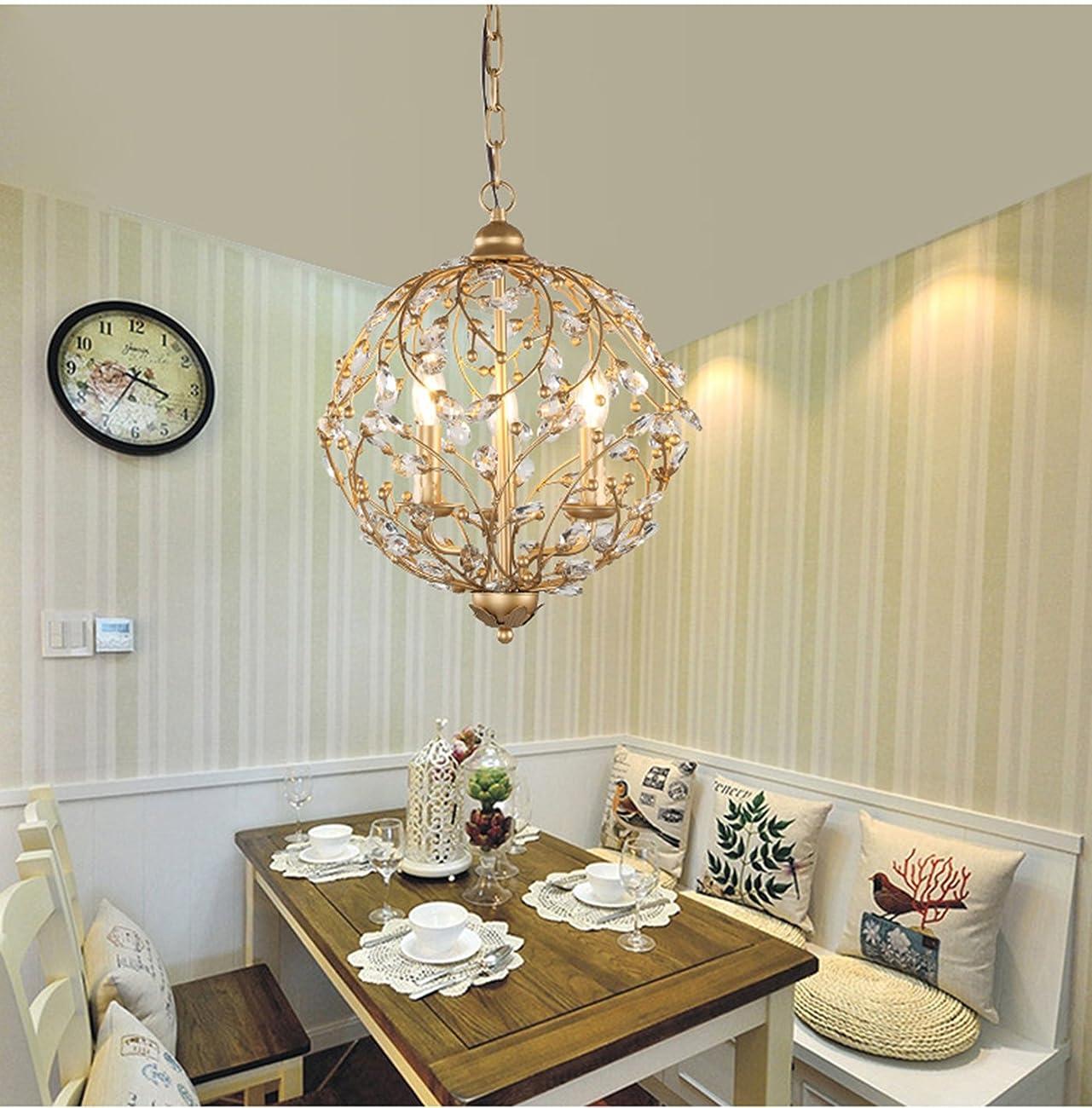 Garwarm Vintage Chandelier 3 lights Antique Pendant light Home Ceiling Light Fixtures Chandeliers Lighting,Golden 1