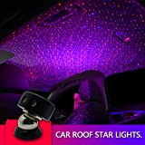 Auto Roof Ceiling Decoration Colourful LED Star Night Lights Projector Atmosphere Lamp Car Top Ceiling Star Lights Armrest Box Interior Ambient Atmosphere for Car/Home/Party (Blue) (Color: Red+blue)