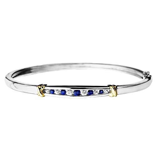 S&G Sterling Silver and 14K Gold Blue and White Sapphire Bangle Bracelet