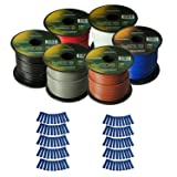 Harmony Audio Primary Single Conductor 16 Gauge Power or Ground Wire - 6 Rolls - 600 Feet - 6 Color Mix for Car Audio/Trailer/Model Train/Remote