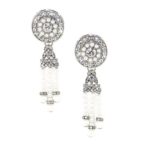 1920's Great Gatsby Art Deco Inspired Crystal Pearl Chandelier Drop Earrings