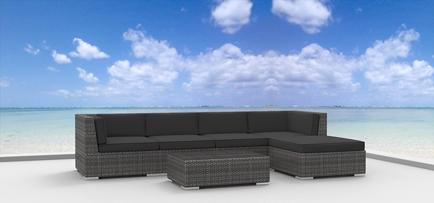 www.urbanfurnishing.net Urban Furnishing - MALO 6pc Modern Outdoor Backyard Wicker Rattan Patio Furniture Sofa Sectional Couch Set - Charcoal at Sears.com