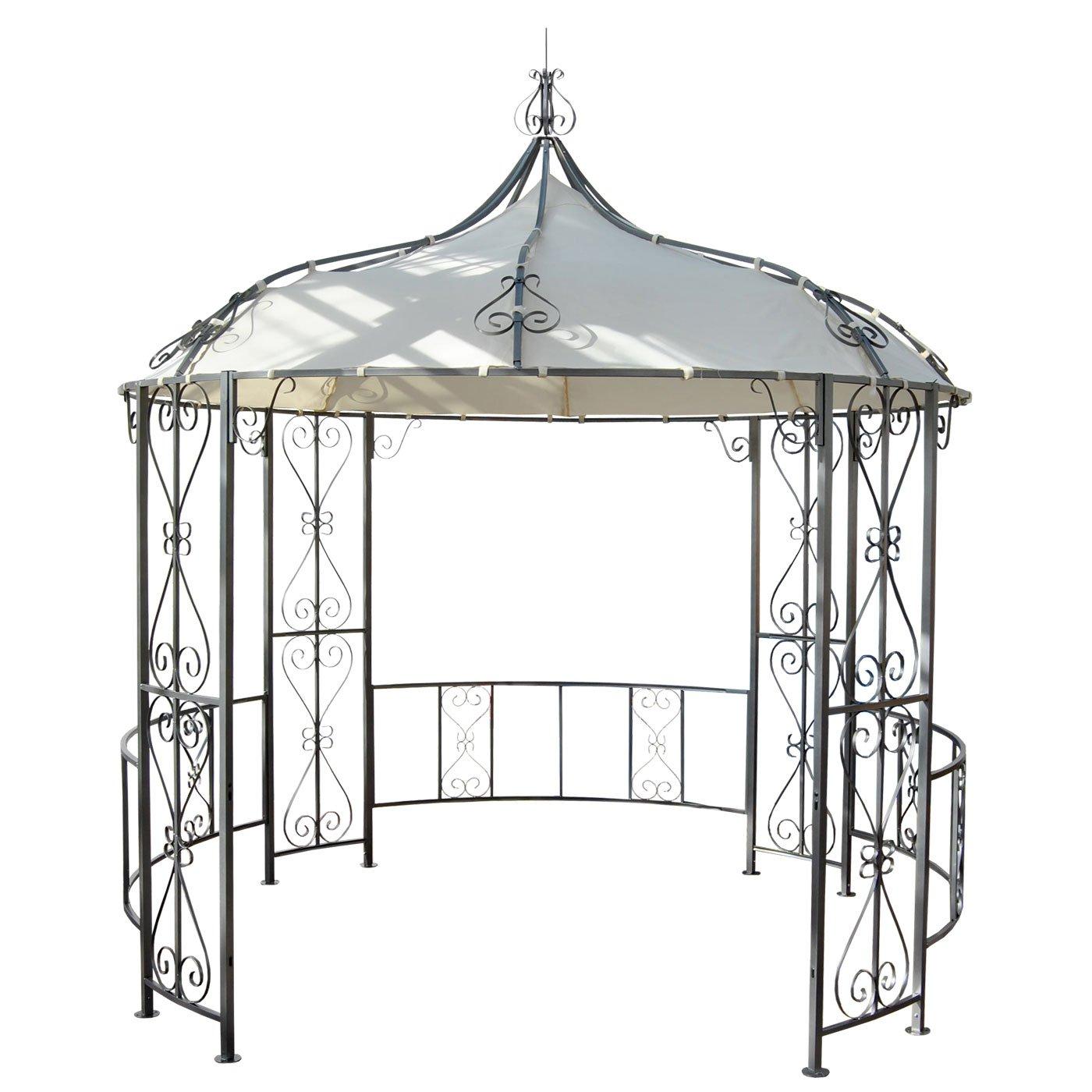 Pergola Almeria, Rundpavillon Garten Pavillon, stabiles Stahl-Gestell Ø 3m günstig online kaufen