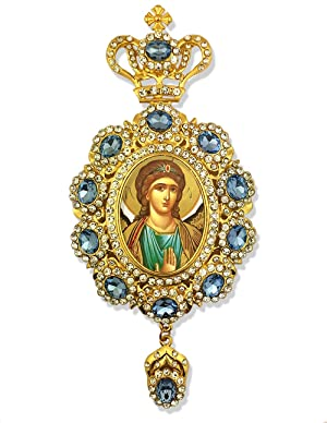 Jeweled Framed Icon Pendant of Archangel St Saint Michael With Crown 6 3/4 Inch