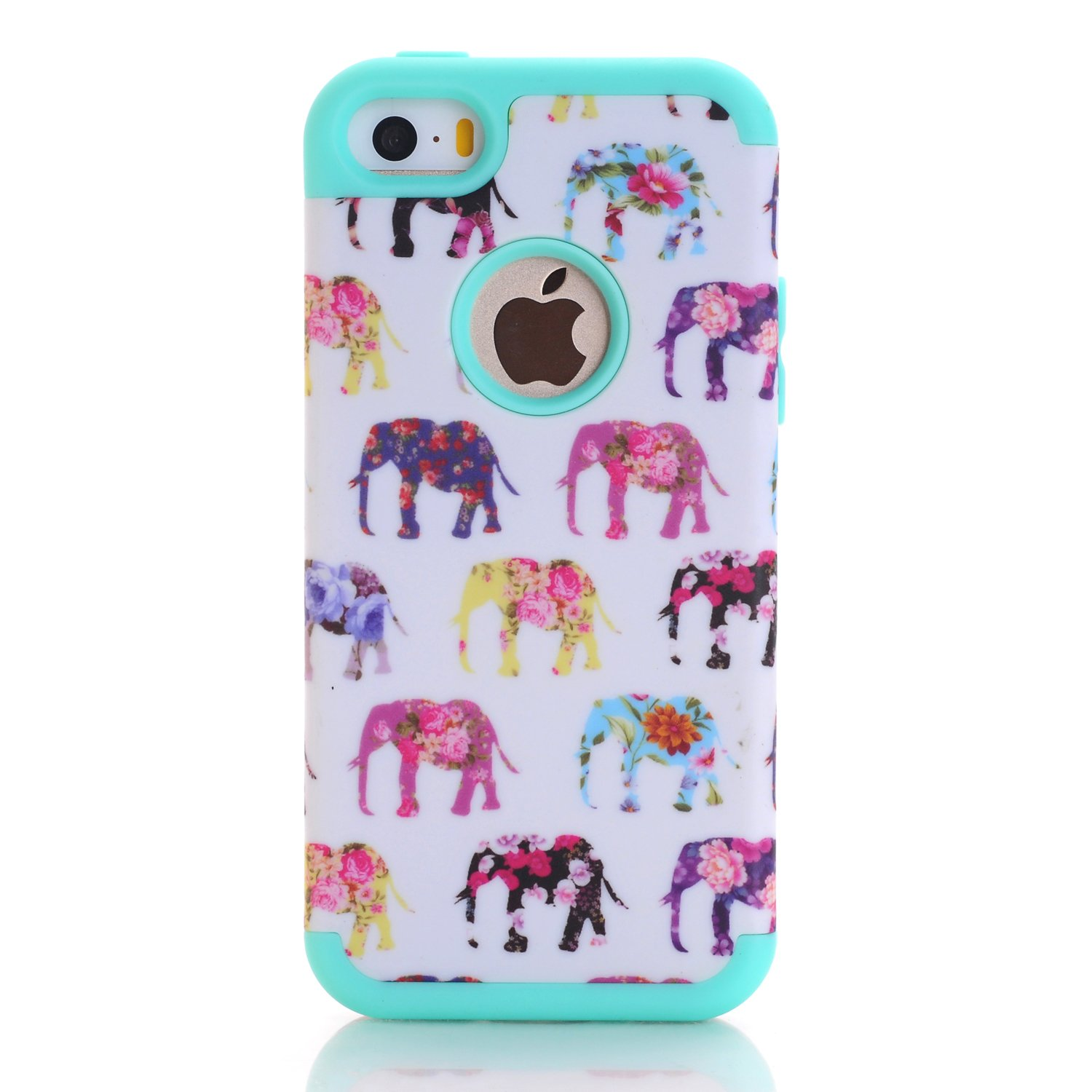 iPhone SE Case, Firefish Hybrid (Hard PC+ Soft Silicone) (Elephant Design) Comprehensive Protection Impact Absorbing (Detachable) Cover for Apple iPhone SE/5/5S( Not for 5C)+One stylus-S-Blue