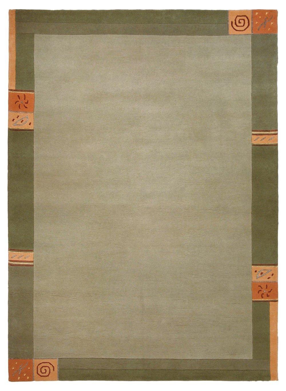"""Sona-Lux Nepal Teppich handgeknüpft grün """"Größe auswählen"""" 90 x 160 cm"""