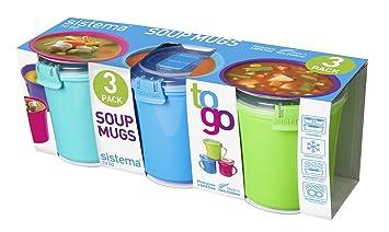 sistema lot de 3 3 tasses pour soupe emporter emporter couleurs assorties cuisine maison. Black Bedroom Furniture Sets. Home Design Ideas