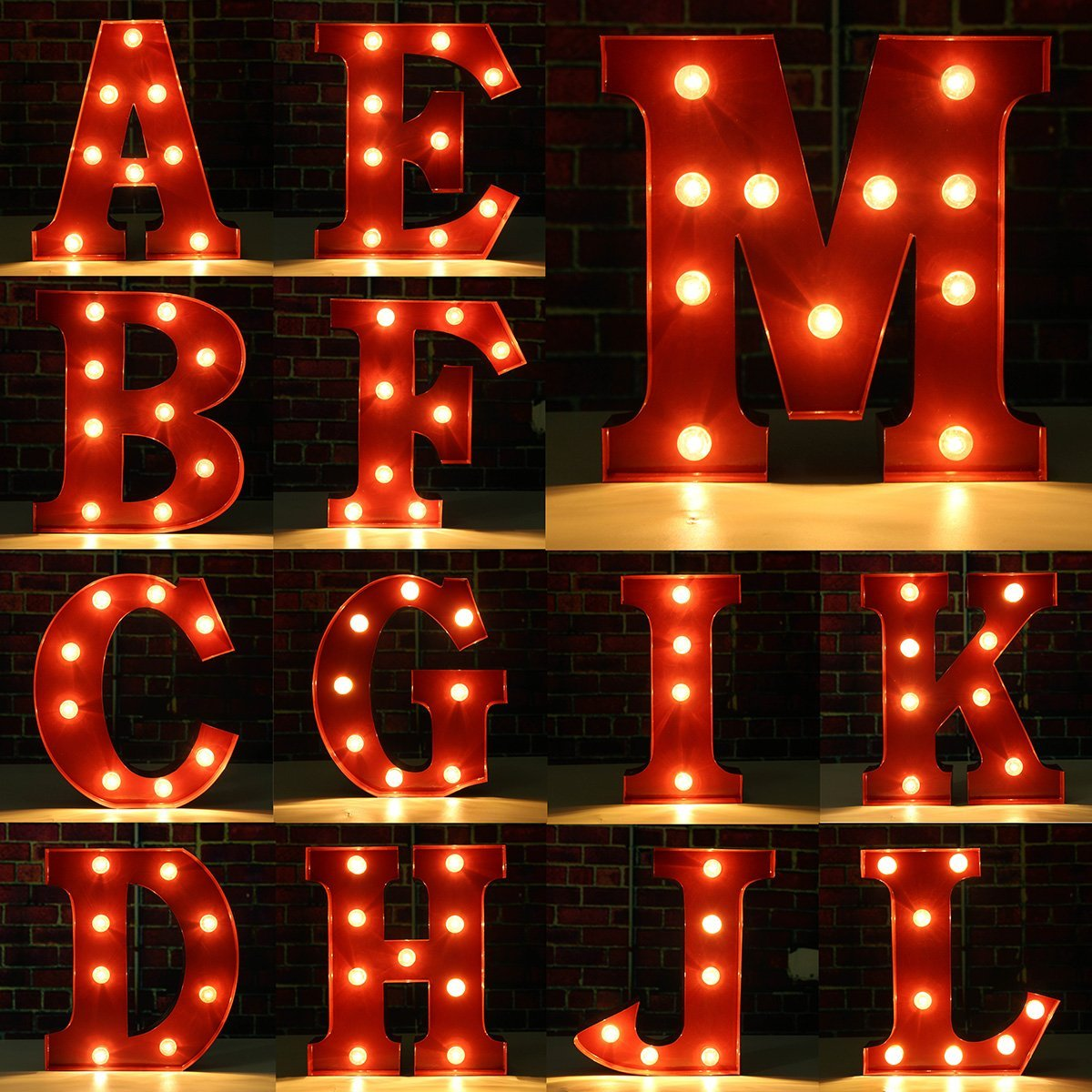 SOLMORE 23CM x 5.5CM LED Letter Light DIY Vintage Metal Sign Carnival Wall Marquee Lights Decoration M 7