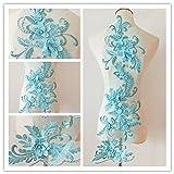 3D beaded flower sequence lace applique motif sewing bridal wedding 3in1 20cmx72cm (Aqua Blue) (Color: Aqua Blue)