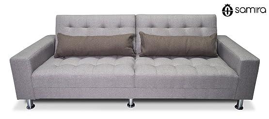 Divano letto in tessuto tortora - divanetto 3 posti mod. Giulia
