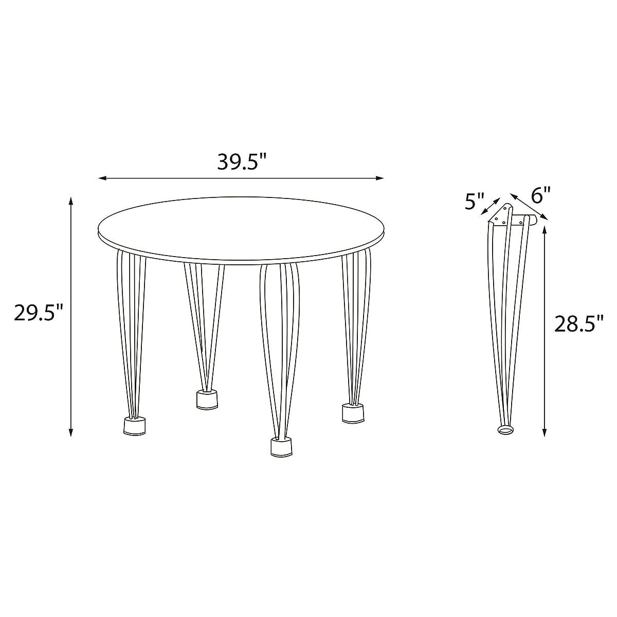 Novogratz Round Dining Table with Chrome Plated Legs, White